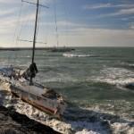 Stessfull view , Italian school boat without Jakiša in front of Vieste