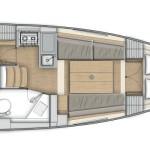 Oceanis 30.1 - 2 cabins - 1 head layout